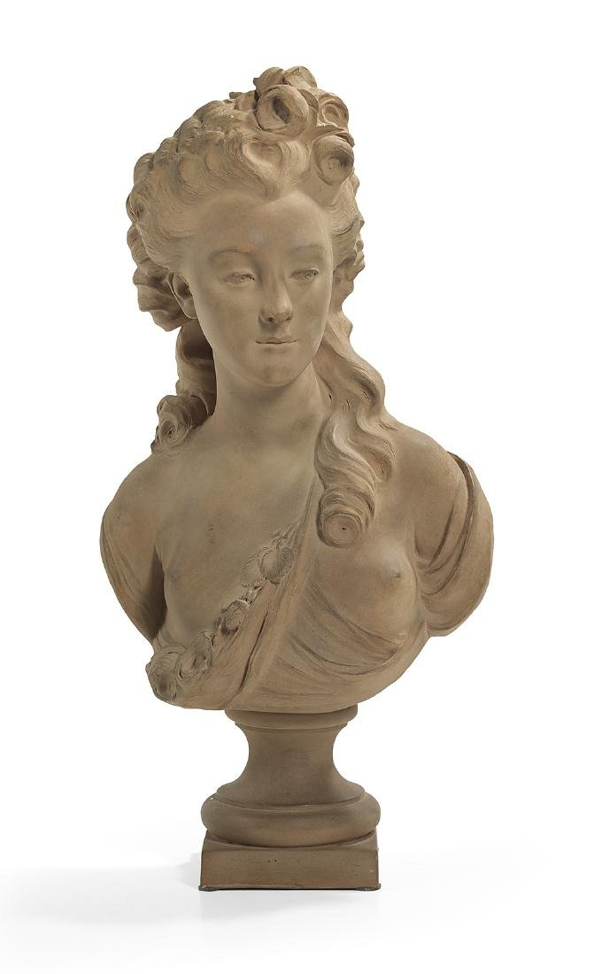 French Terracotta Bust of a Young Woman