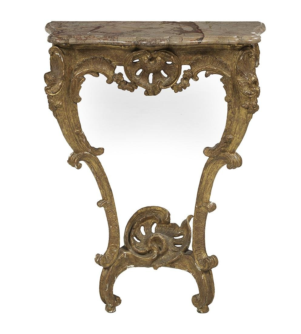 Louis XV-Style Giltwood and Marble-Top Console Table