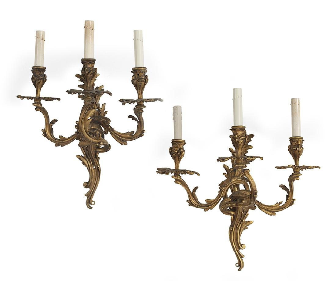Pair of Louis XV-Style Bronze Sconces