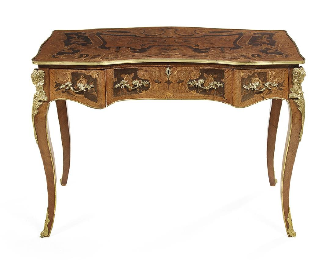 Louis XV-Style Kingwood and Marquetry Desk