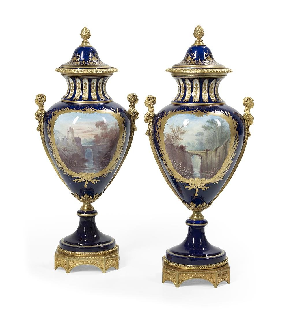 Impressive Pair of Sevres-Style Gilt-Bronze-Mounted - 2
