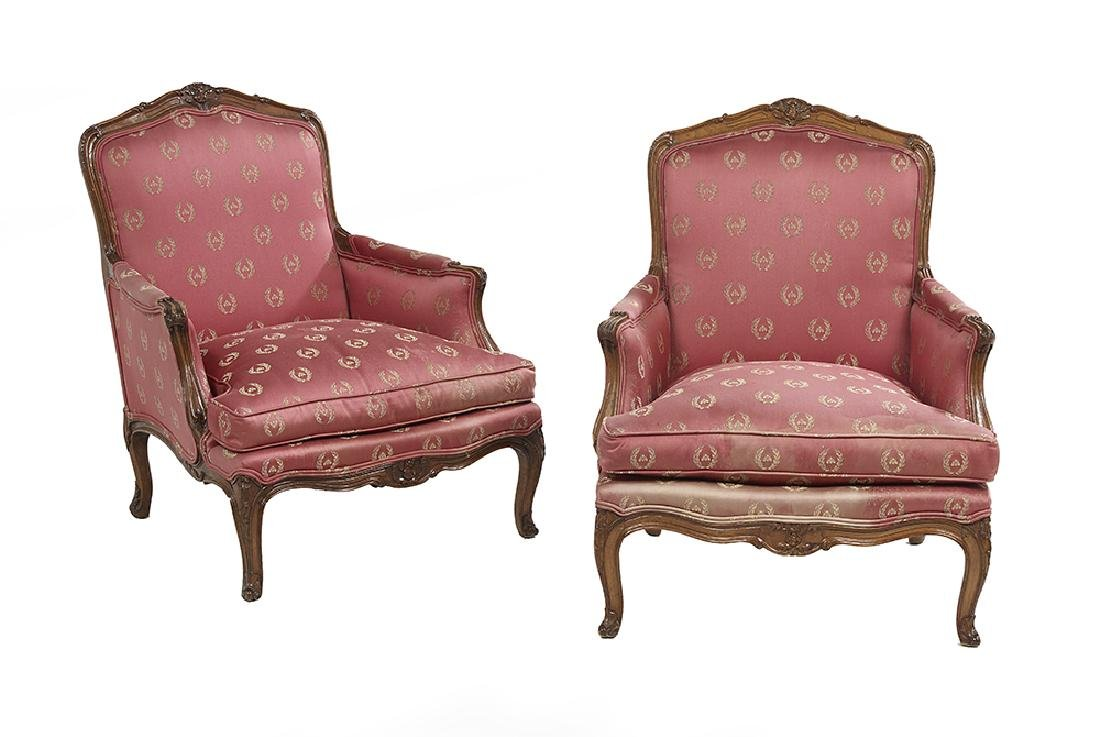 Pair of Louis XV-Style Fruitwood Bergeres
