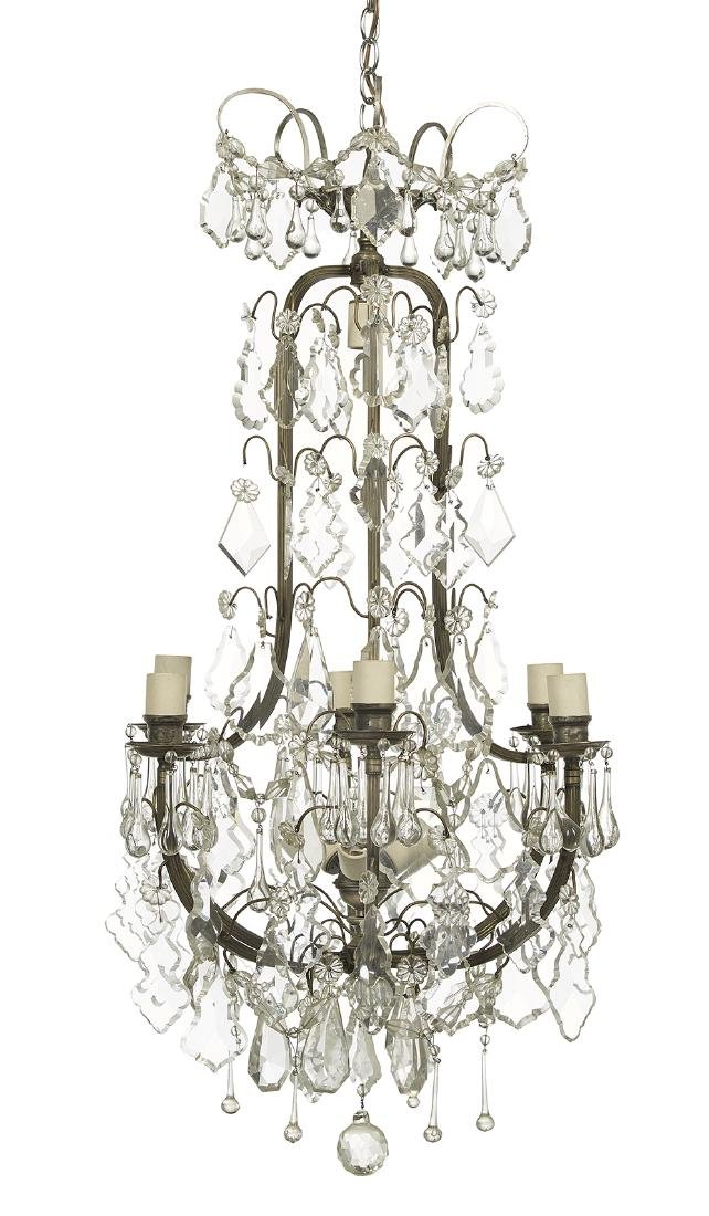 French Metal and Bronze Chandelier in the Louis XIV