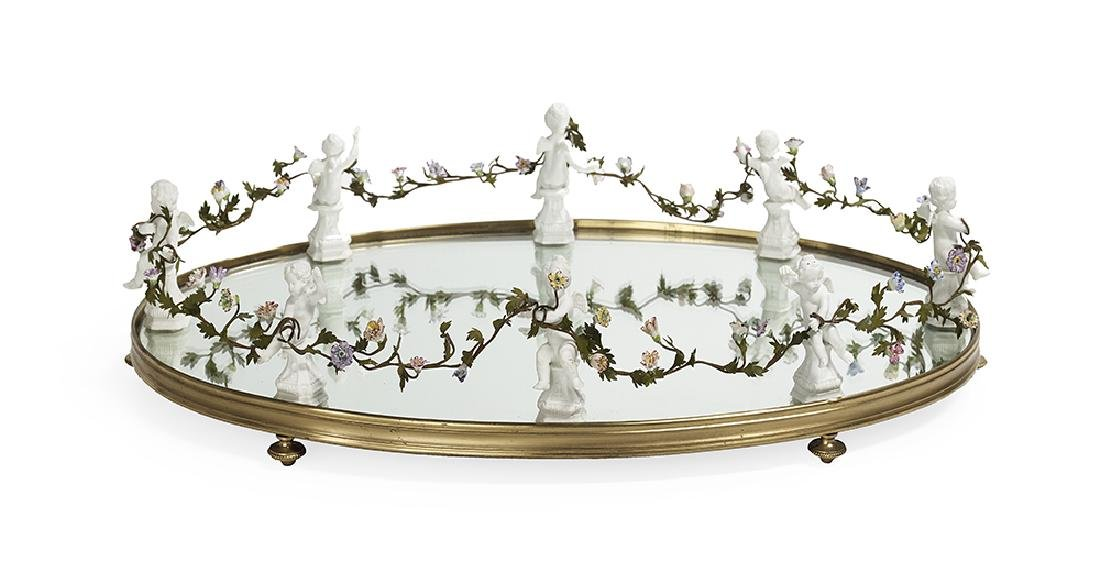 French Bronze, Mirror, Glass and Porcelain Surtout de