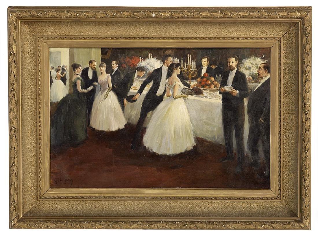 """George Vuillard, (French, b. 1956), """"The Banquet"""", oil"""