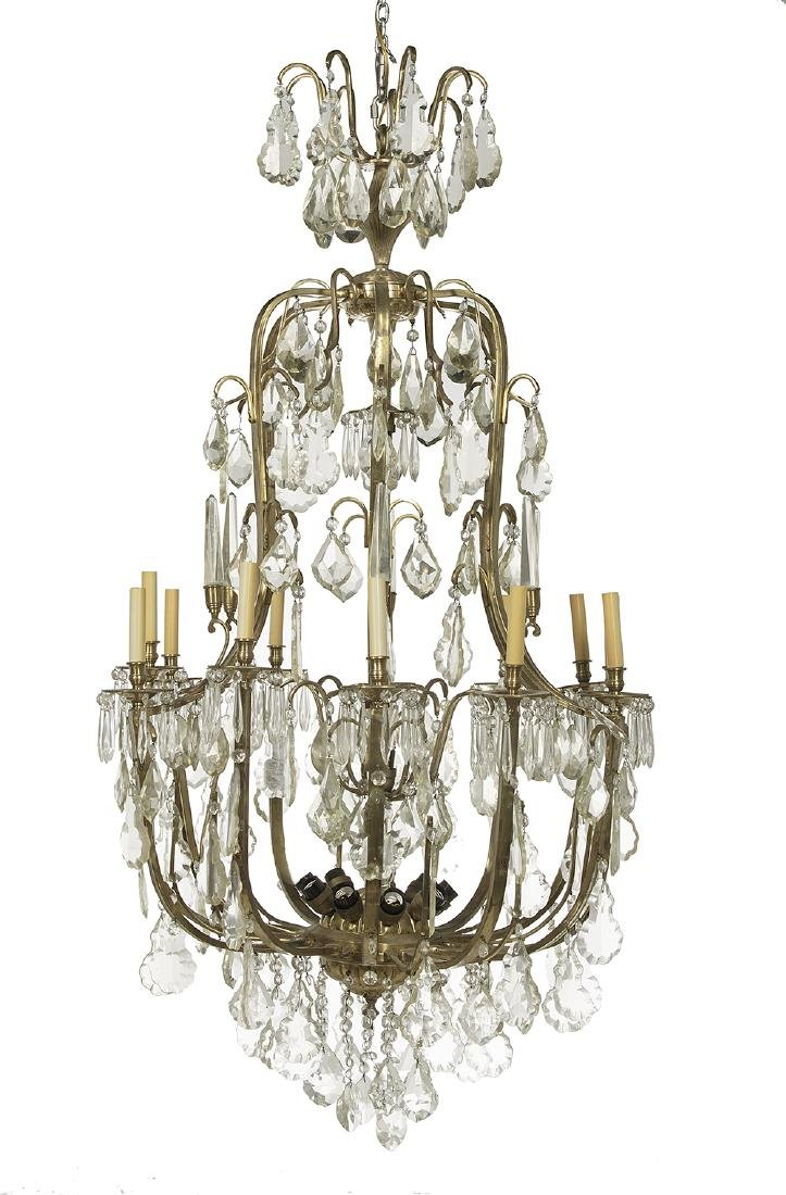 Louis XIV-Style Brass and Crystal Chandelier