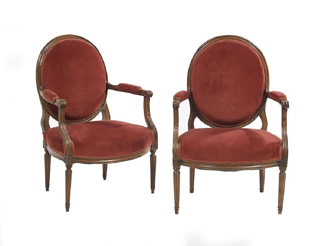 Pair of Louis XVI Fruitwood Fauteuils