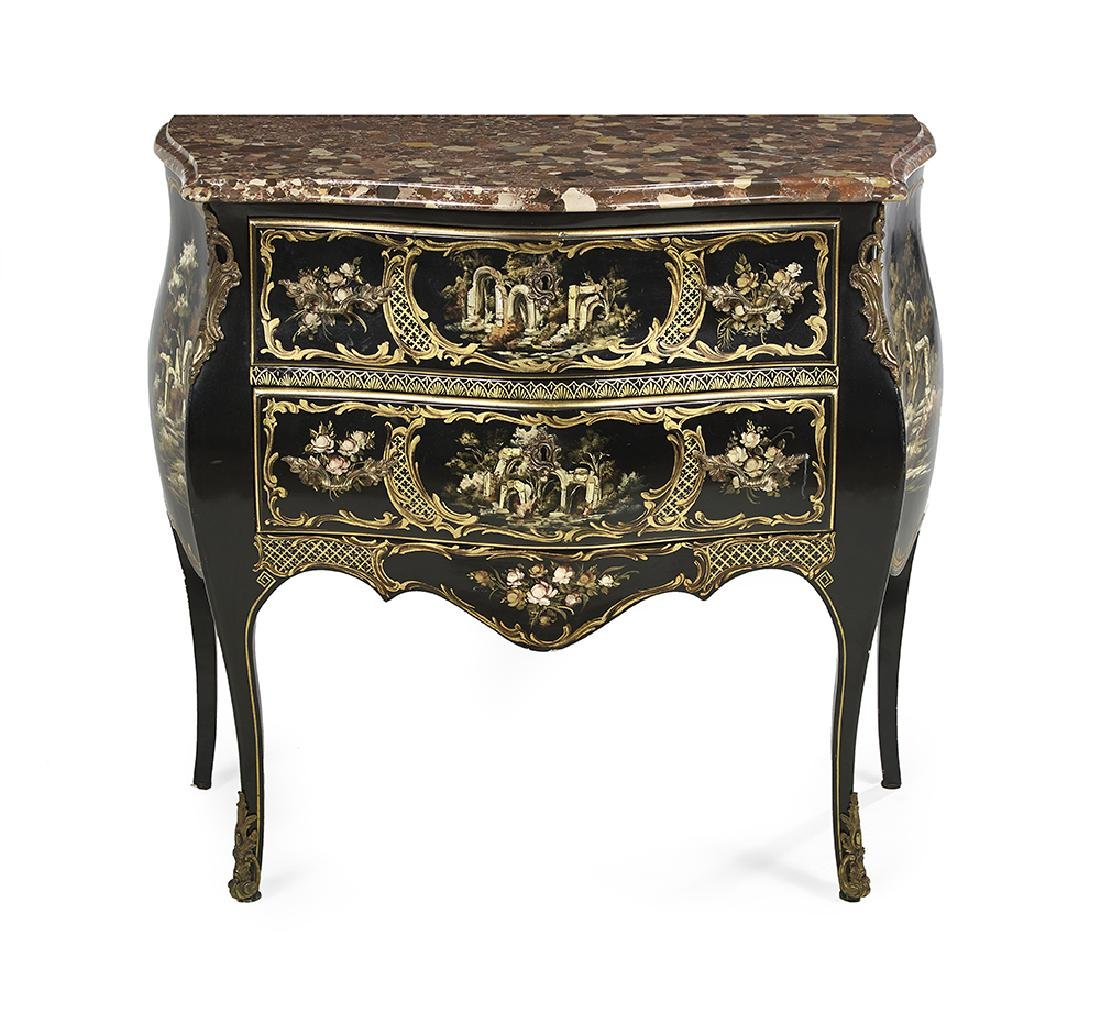 Louis XV-Style Ebonized and Marble-Top Commode