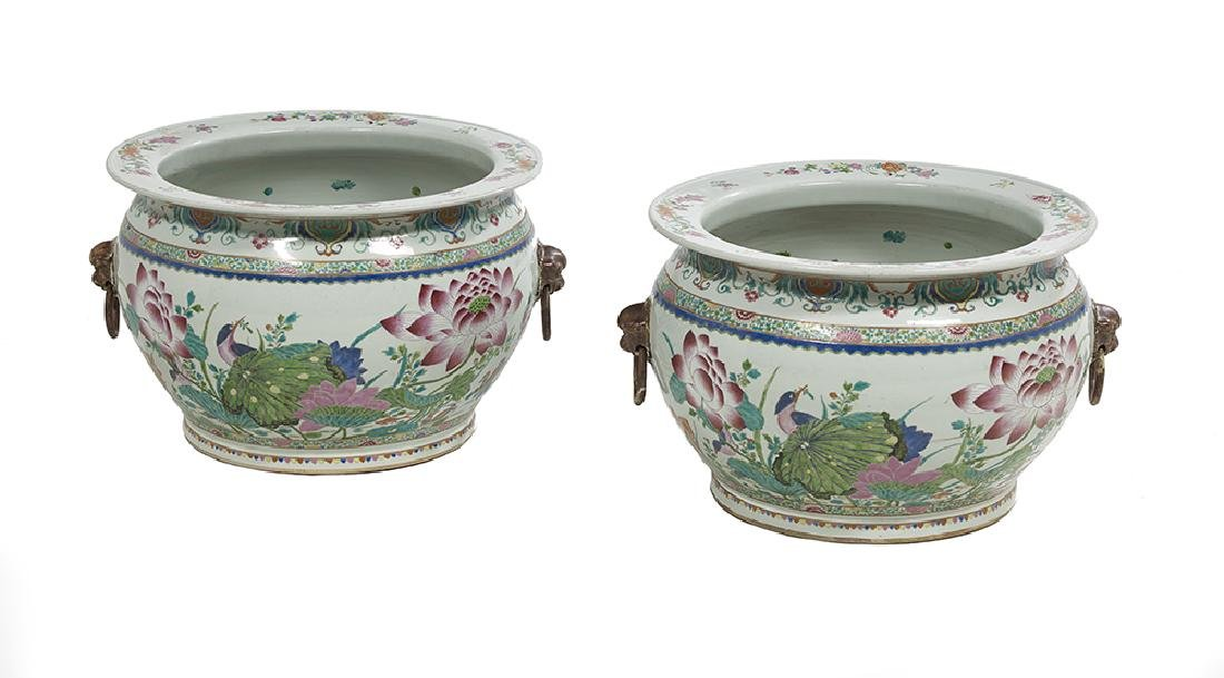 Pair of Chinese Export Porcelain Famille Rose Fish Bowl