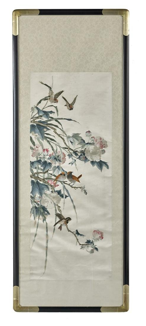 Chinese Silk-Embroidered Panel