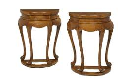Pair of AngloDutchStyle Mahogany Demilune Occasional