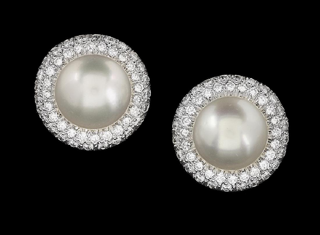South Sea Pearl Earrings with Diamond Jackets