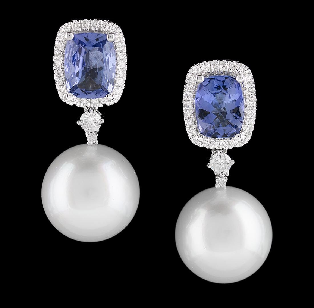 Tanzanite, Pearl and Diamond Earrings