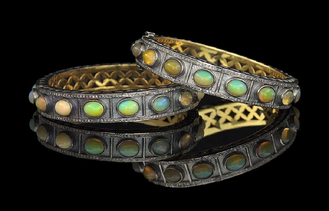 Two Opal and Diamond Bangle Bracelets