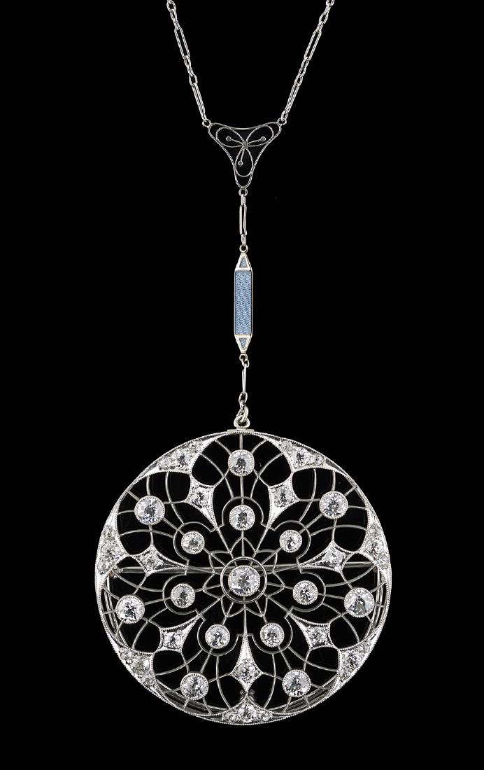 Edwardian Platinum and Diamond Brooch/Pendant - 2