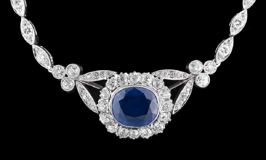 Natural Sapphire and Diamond Necklace - 2