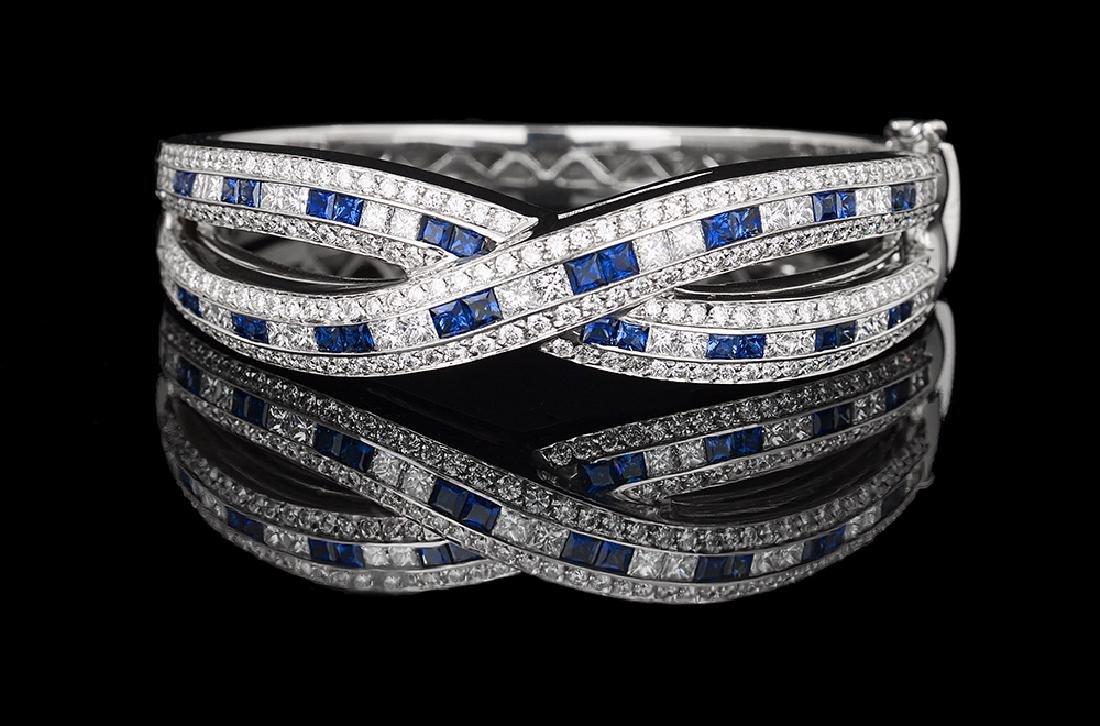Beautiful Sapphire and Diamond Bangle Bracelet