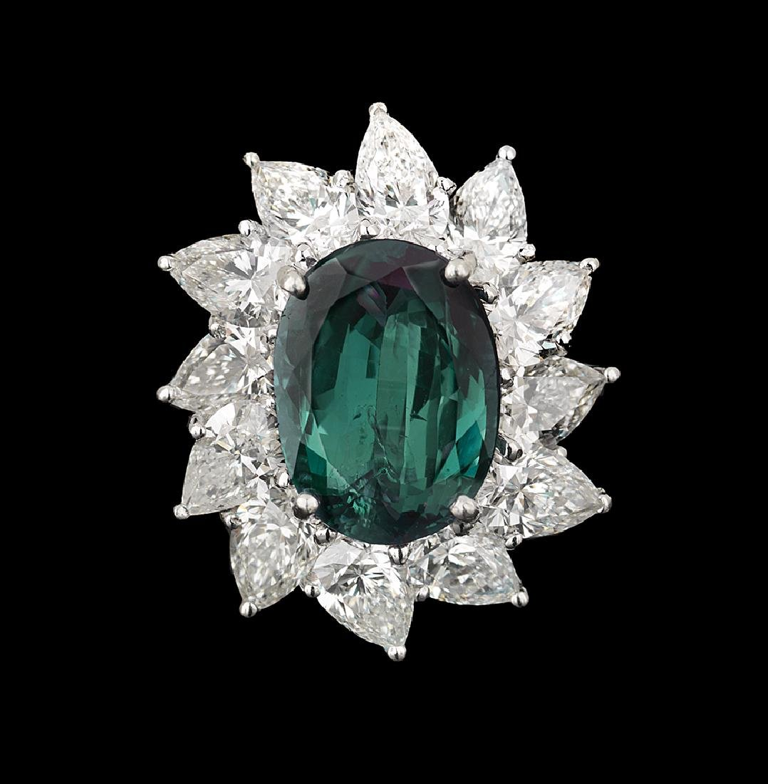 Stunning Certified Natural Alexandrite and Diamond Ring