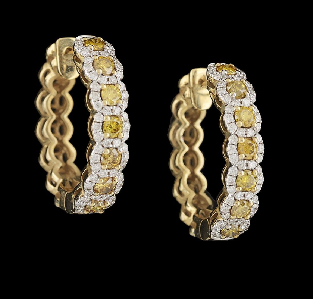 Yellow and White Diamond Hoop Earrings