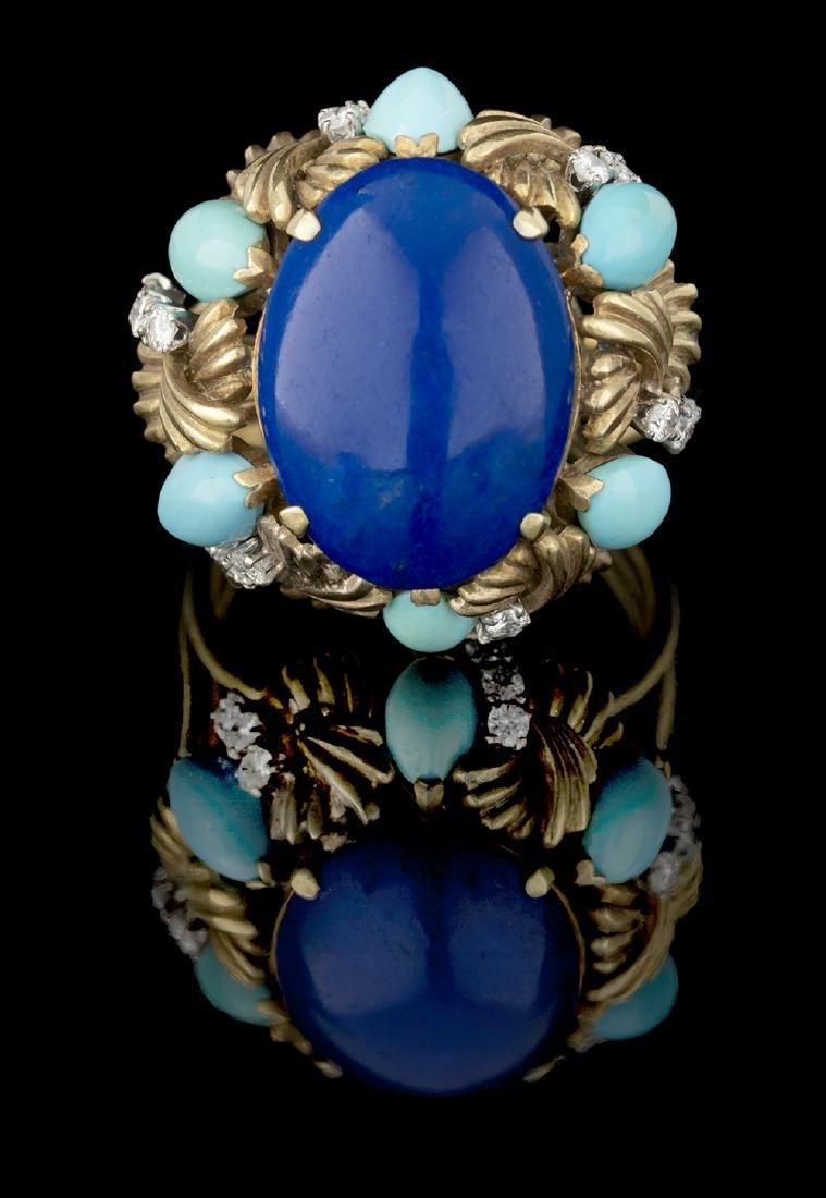 Lapis Lazuli, Turquoise and Diamond Ring