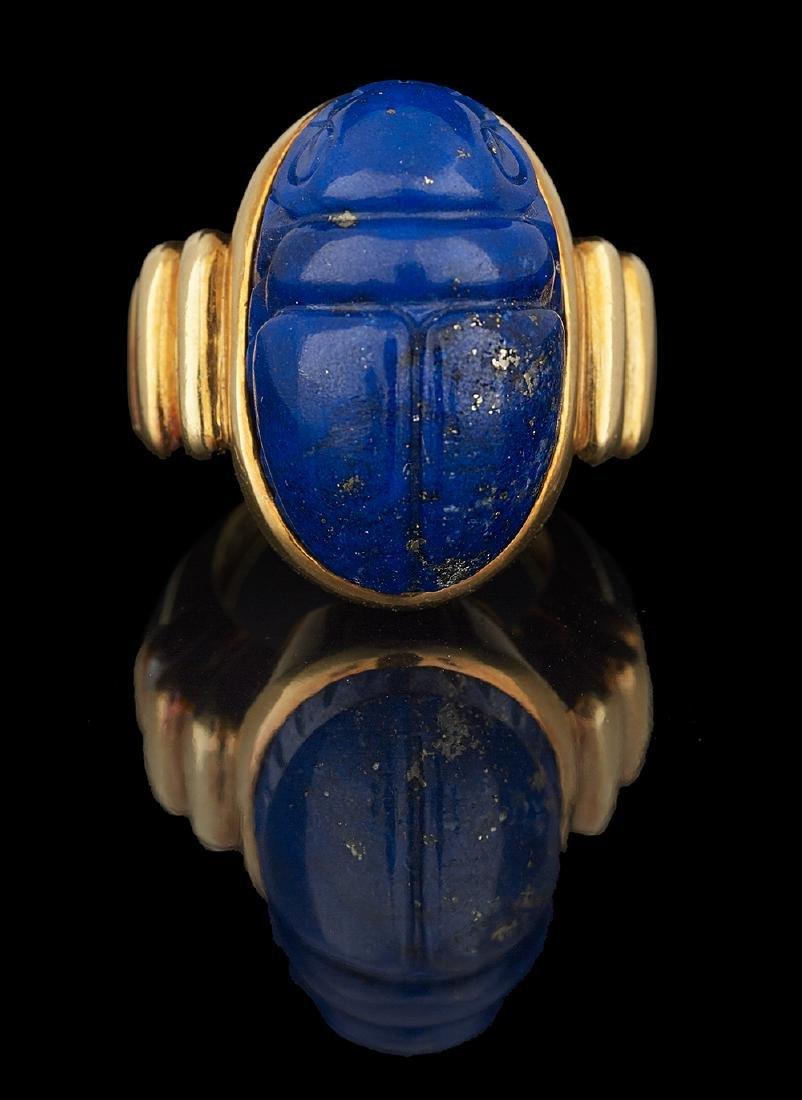 David Webb Lapis Lazuli Scarab Ring