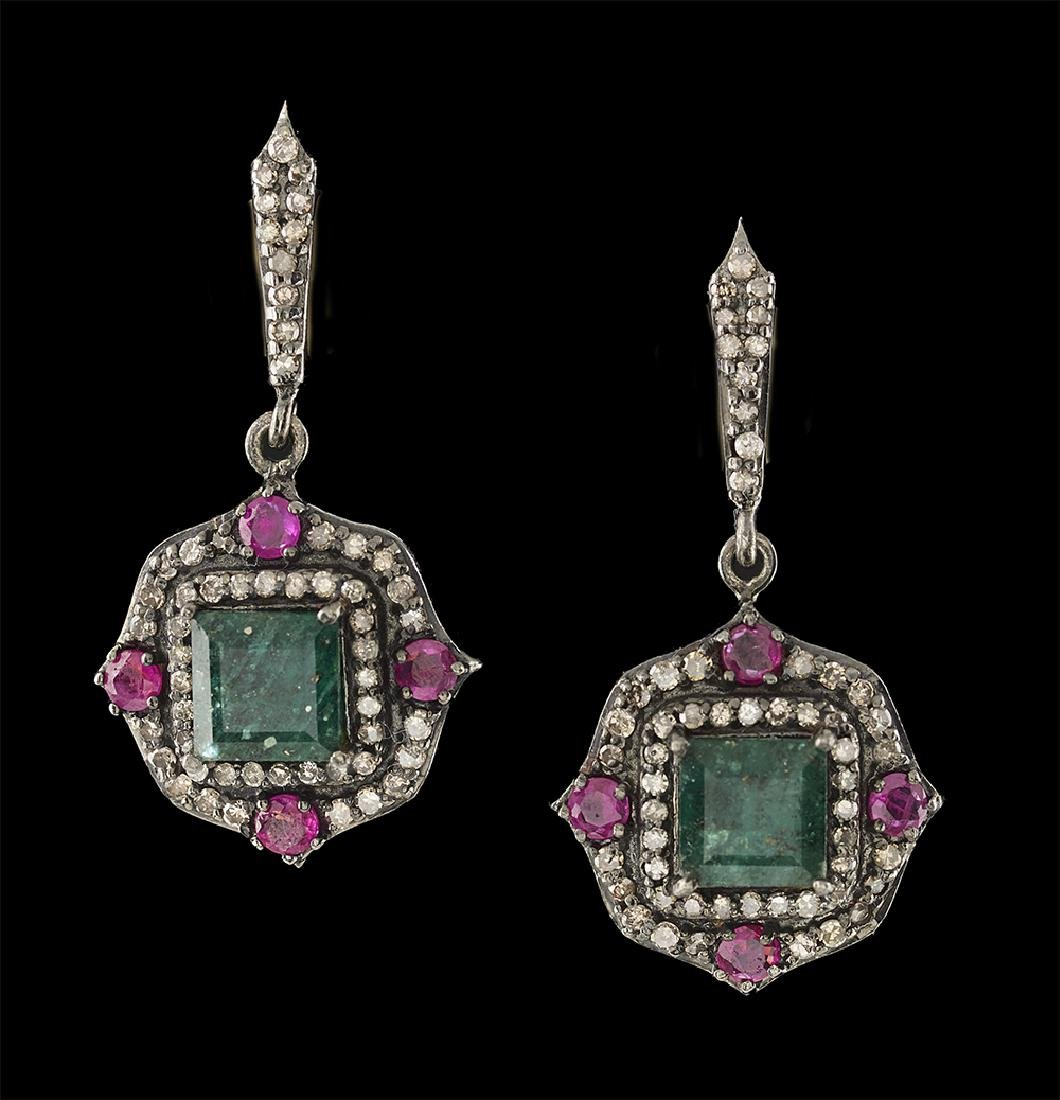 Emerald, Ruby and Diamond Earrings