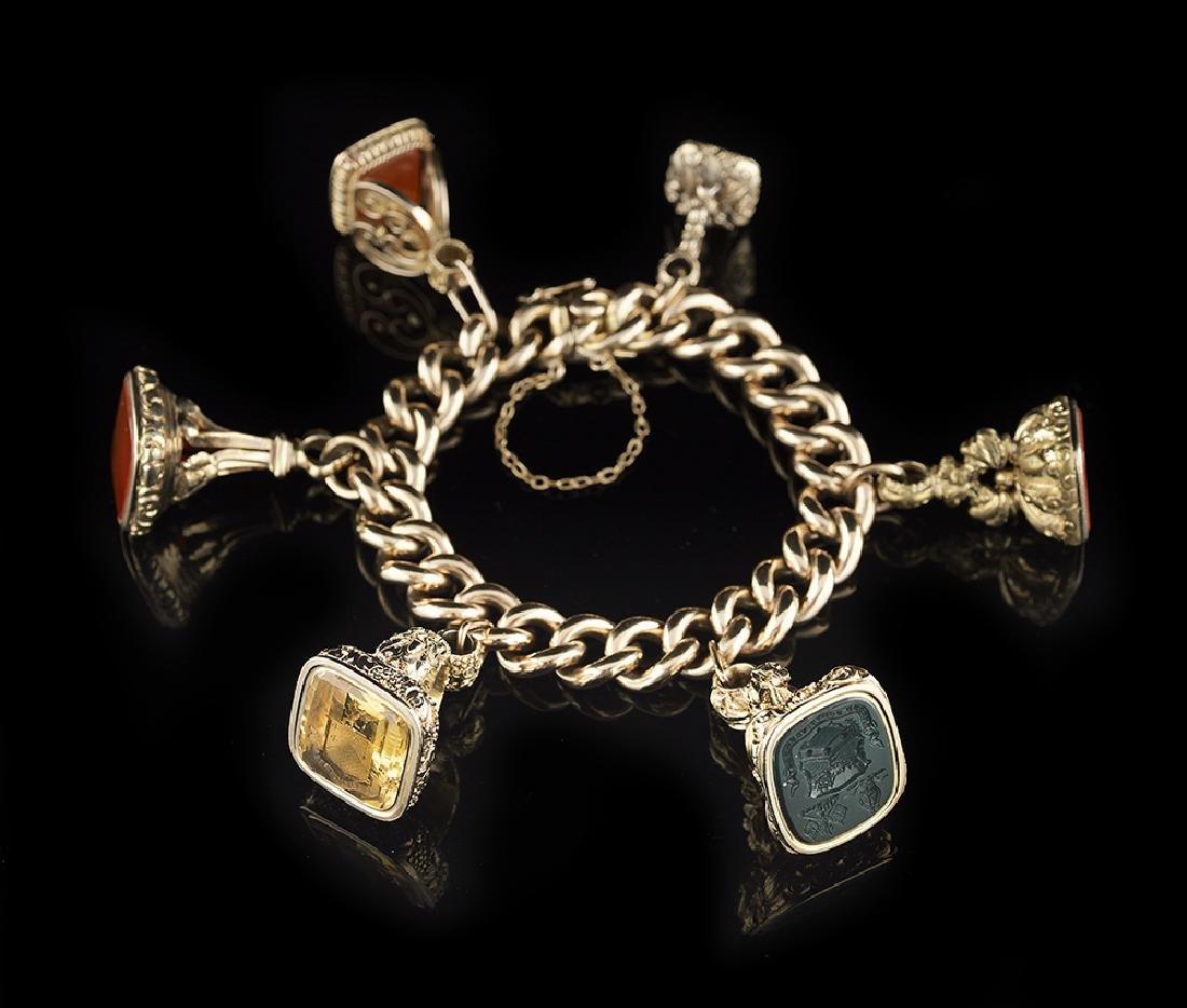 Antique Gold Fob Seal Charm Bracelet