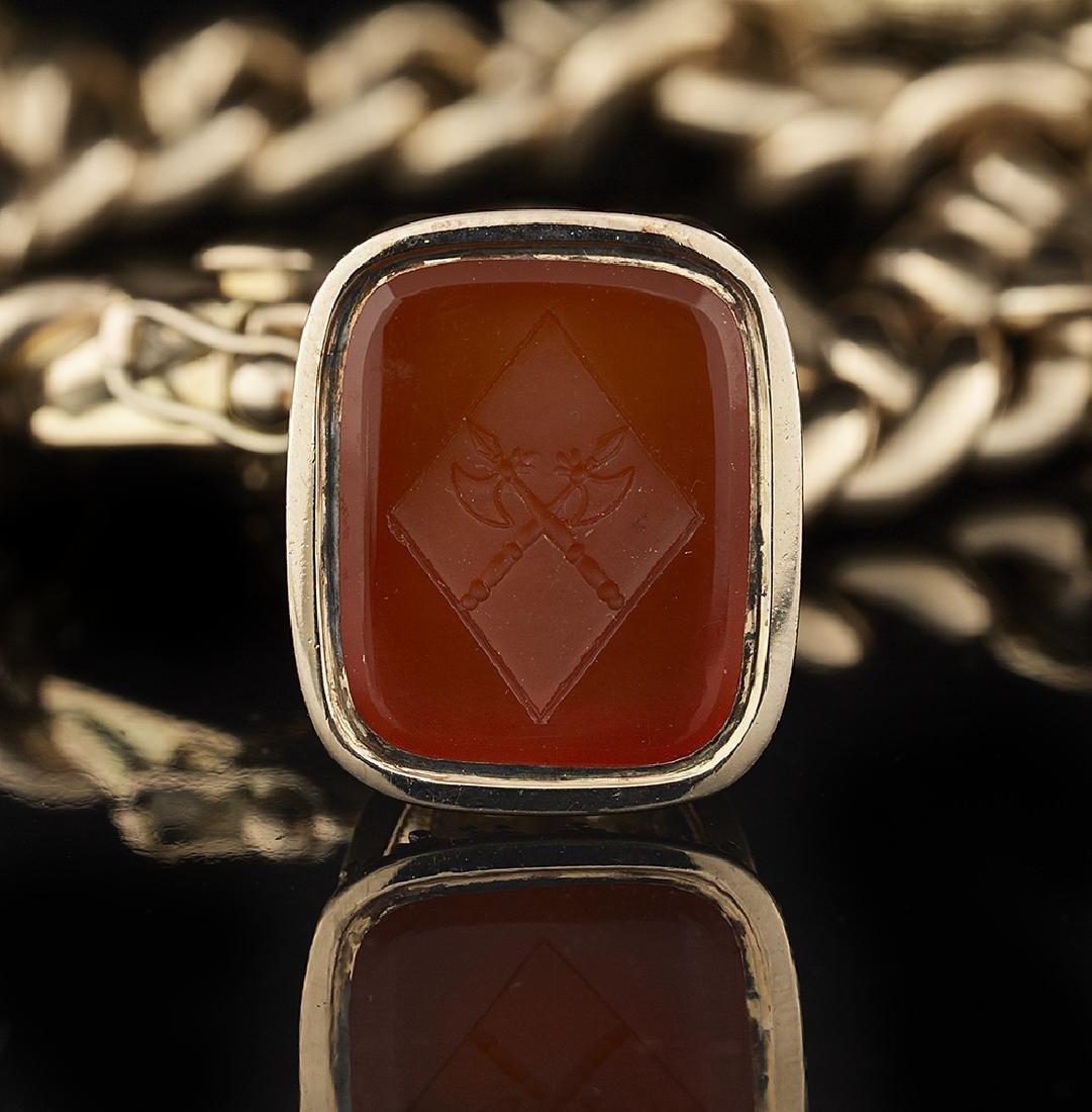 Antique Gold Fob Seal Charm Bracelet - 3