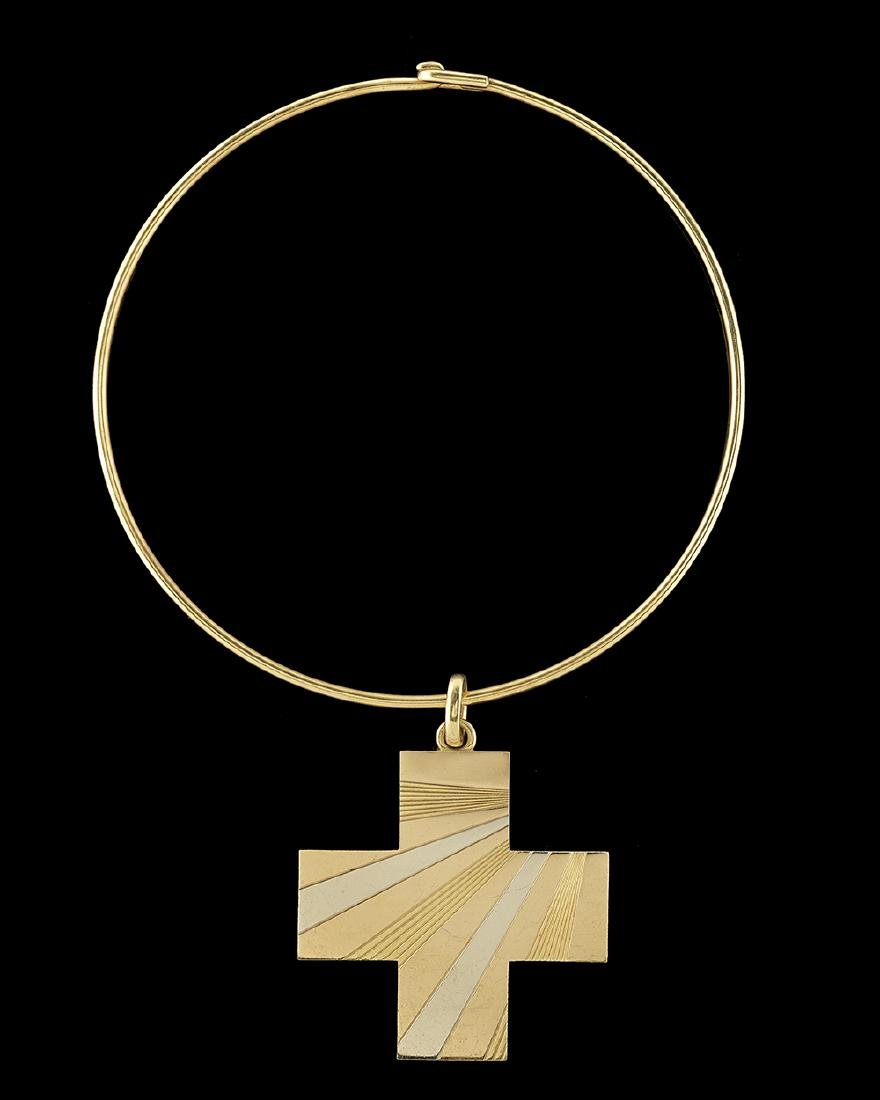 Bulgari Tri-Colored Cross and Choker