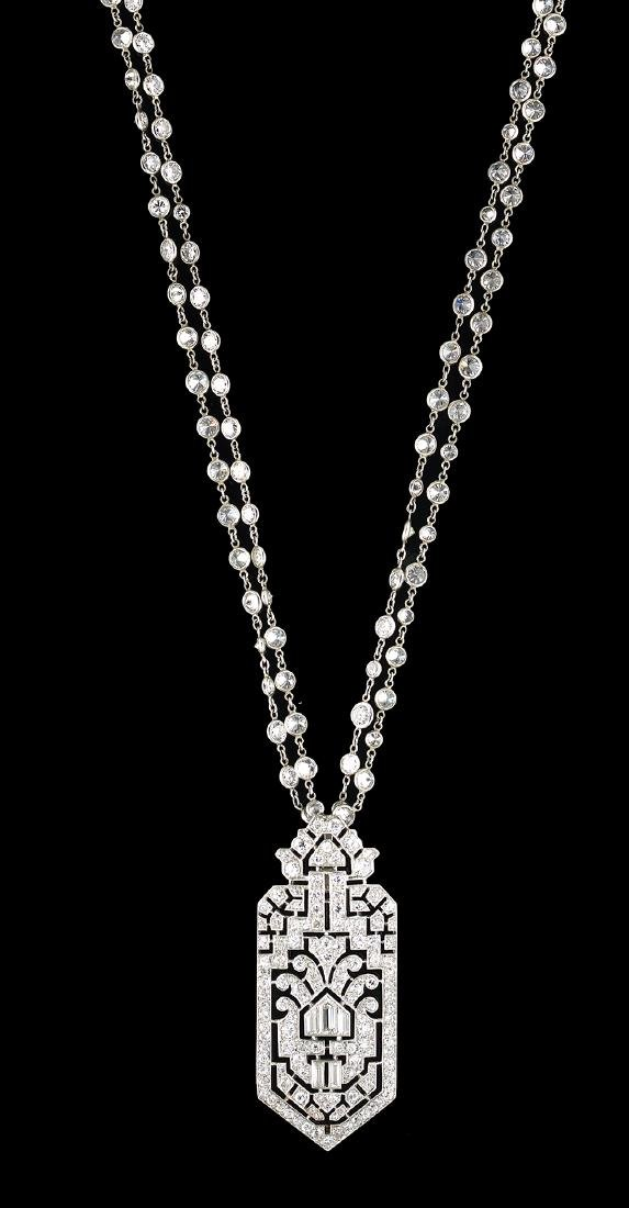 Beautiful Art Deco Diamond Pendant Necklace