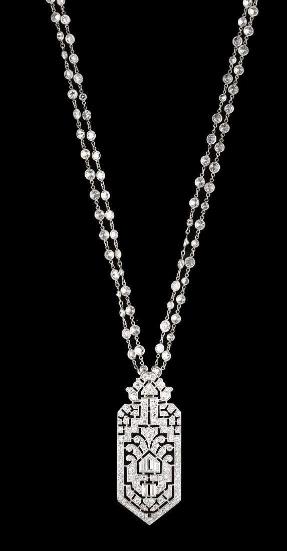 Beautiful Art Deco Diamond Pendant Necklace