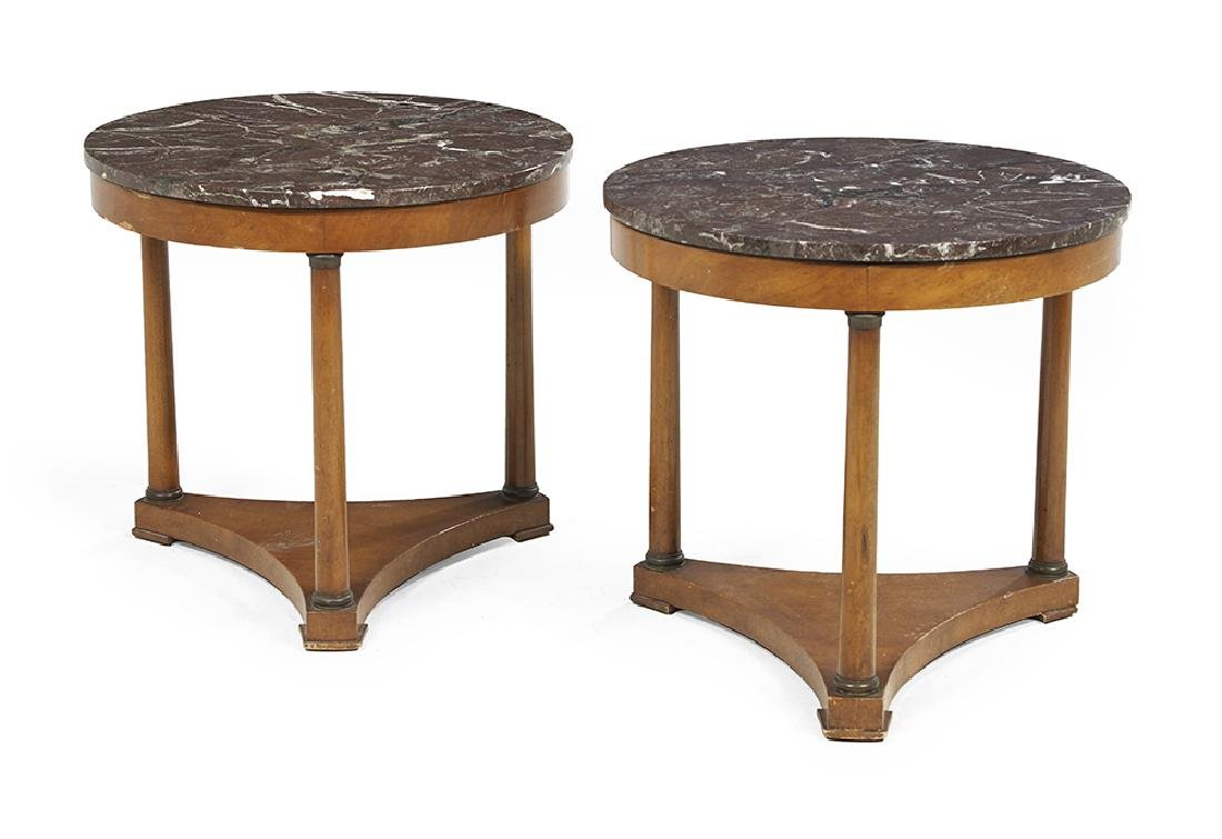 Pair of Empire-Style Fruitwood and Marble-Top
