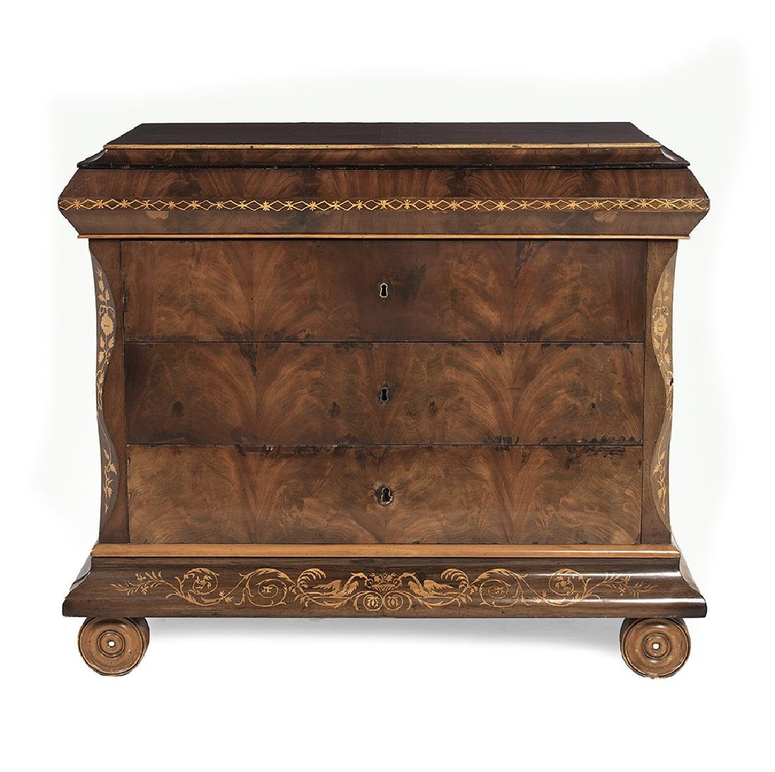 Continental Neoclassical Mahogany Commode