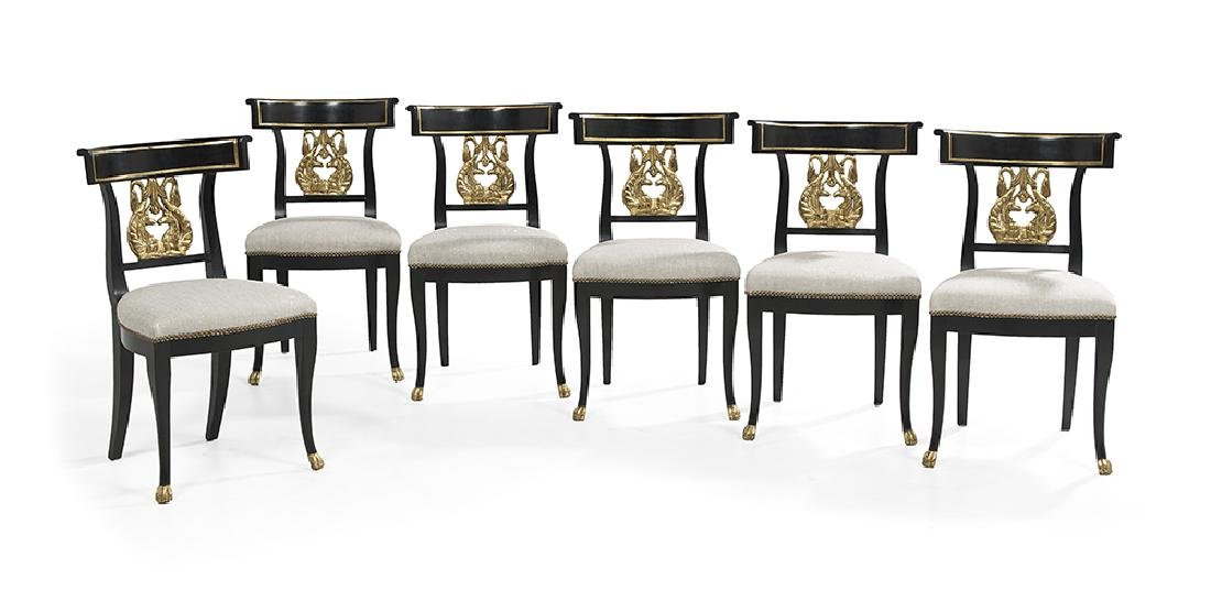 Suite of Six Neoclassical-Style Ebonized and