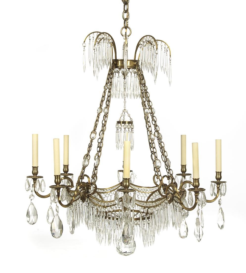 Swedish-Style Bronze and Prism-Hung Chandelier