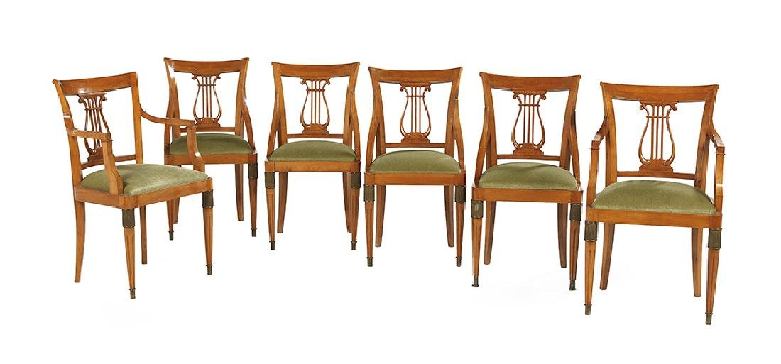 Suite of Six Biedermeier-Style Blonde Fruitwood Dining