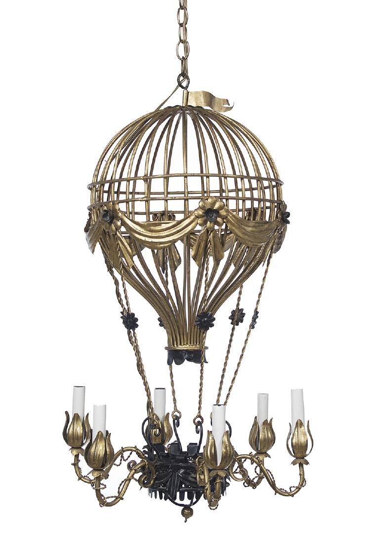 Gilt and Patinated Metal Balloon-Form Chandelier