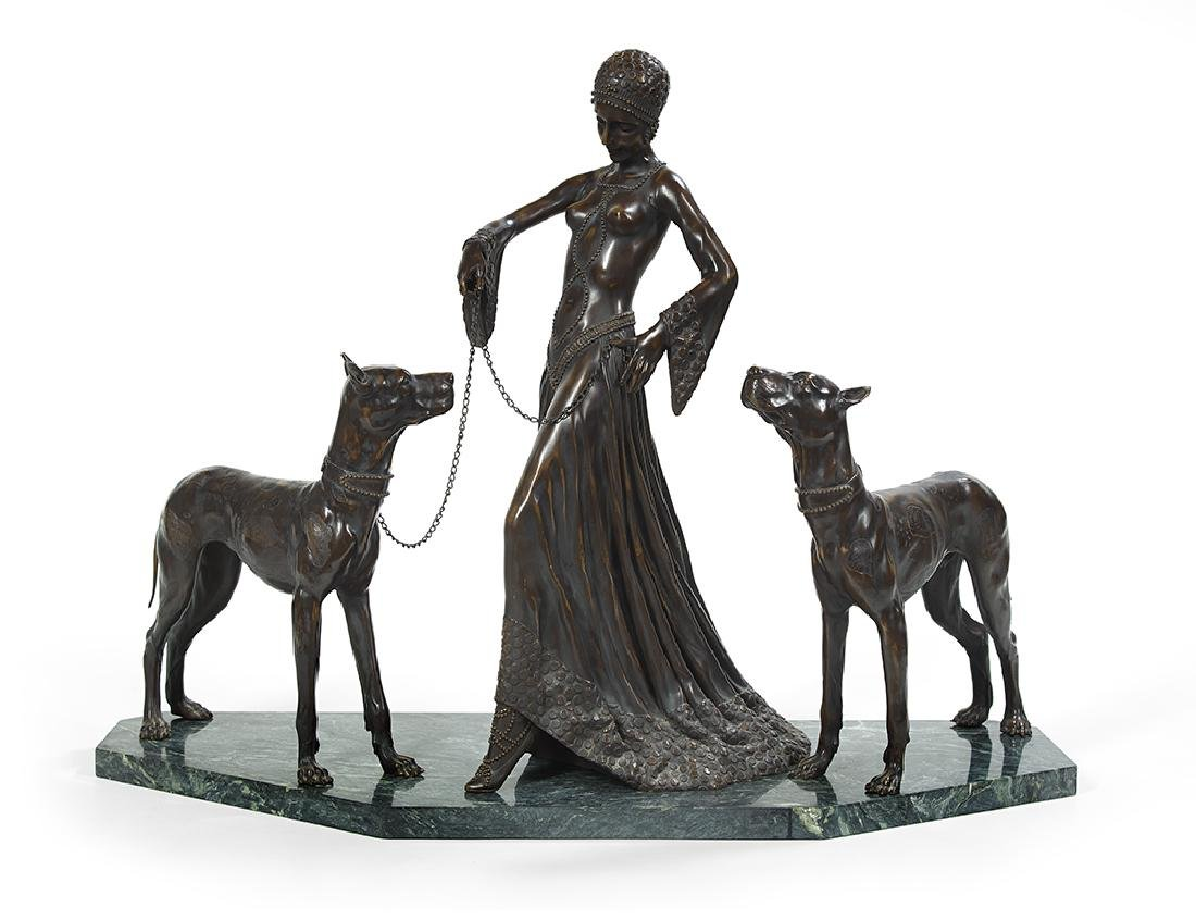 Art Deco-Style Patinated Bronze Figural Grouping of a