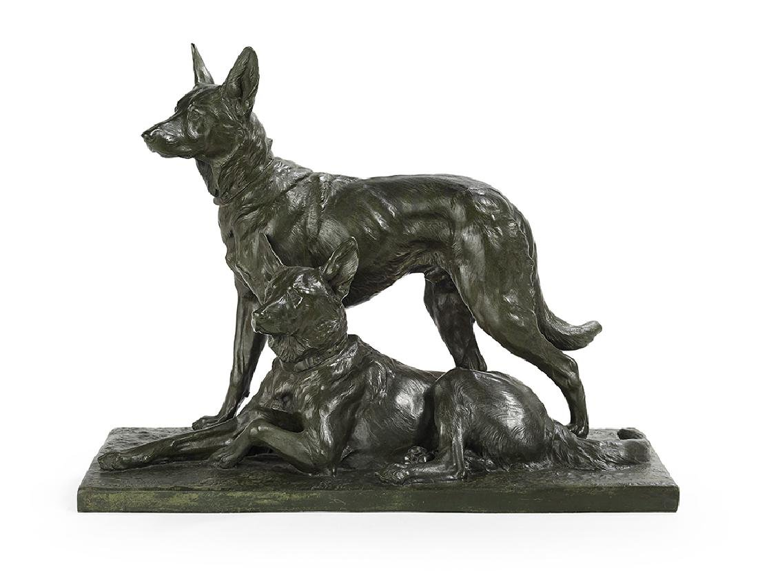 """French Patinated Bronze of """"German Shepherds"""""""