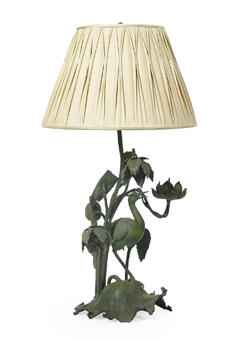 Patinated Metal Table Lamp in the Japanese Taste
