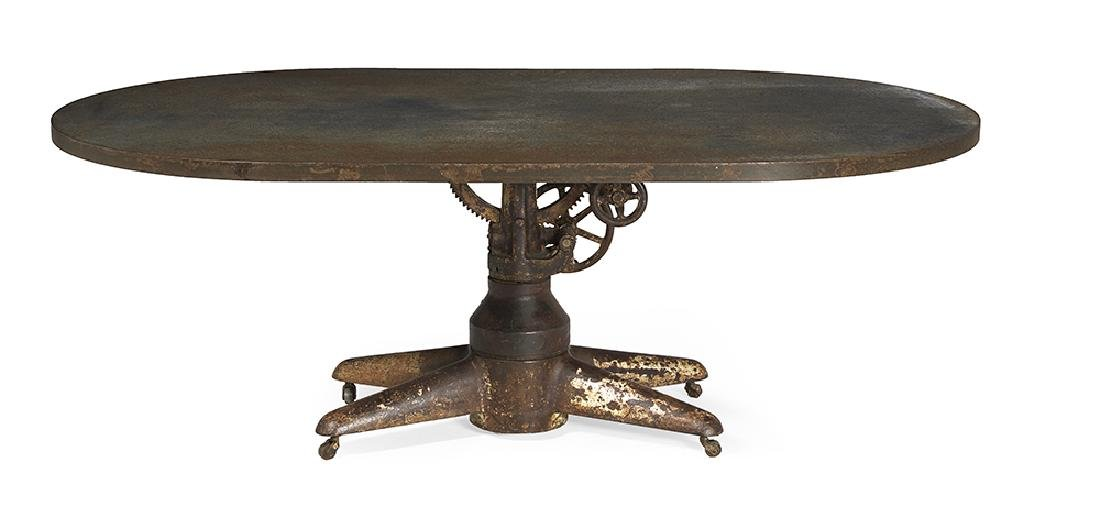 """Interesting """"Industrial"""" Steel and Iron Oval Dining"""