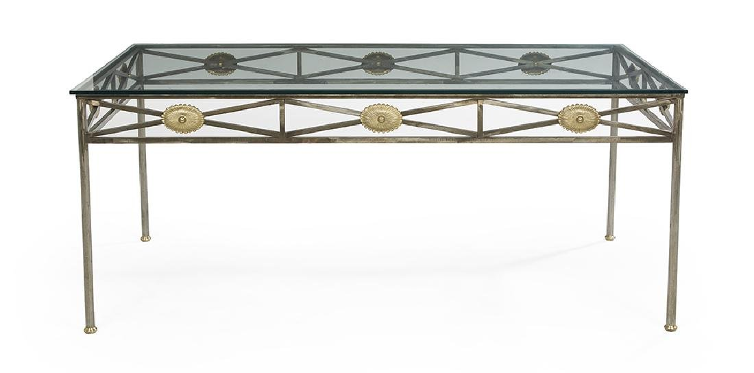 Contemporary Brass-Mounted Iron and Glass-Top Table