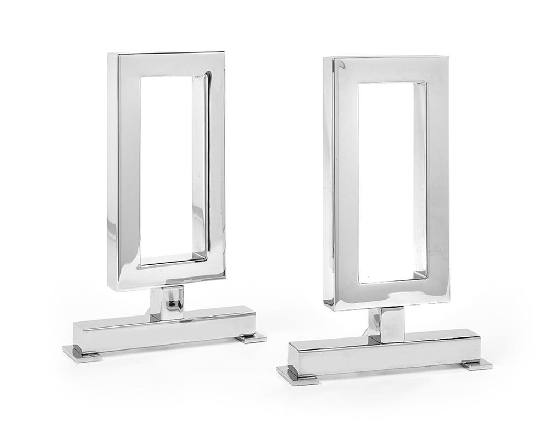 """Pair of Chrome """"Gable End"""" Andirons"""
