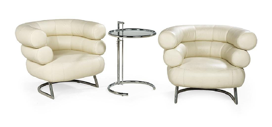 Pair of Tubular Steel and Leather Eileen Gray-Style