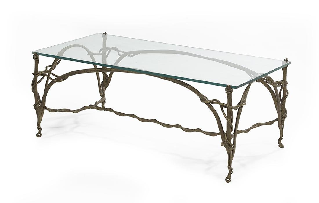 Contemporary Bronze and Glass-Top Cocktail Table