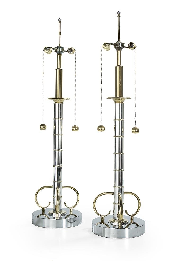 Pair of Large Contemporary Chrome and Brass Table Lamps