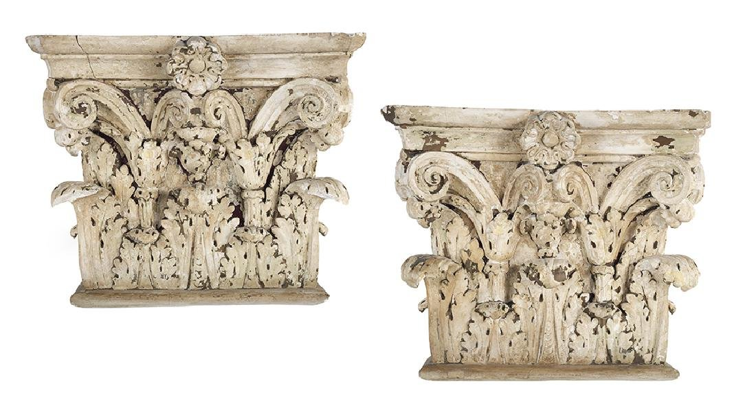 Pair of Wood and Plaster Corinthian Capital-Form