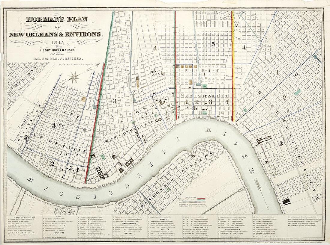 """Rare """"Norman's Plan of New Orleans & Environs"""""""