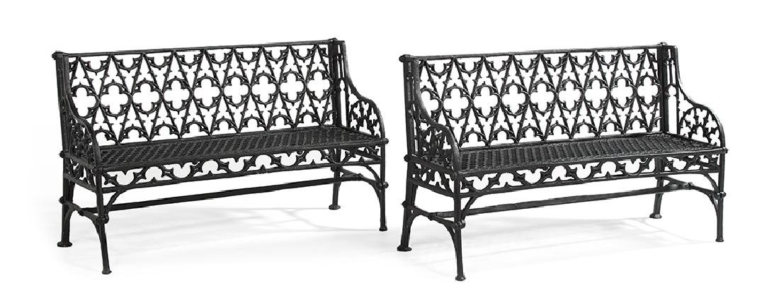Pair of American Gothic Revival Cast Iron Garden
