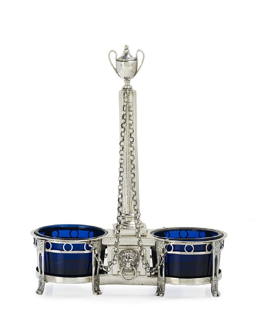 German Neoclassical Silver and Glass Double Salt Stand